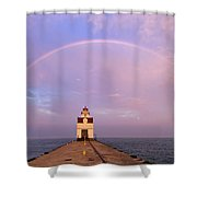 Kewaunee Pierhead Lighthouse And Rainbow - D002811 Shower Curtain