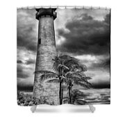Key Biscayne Fl Lighthouse Black And White Img 7167 Shower Curtain