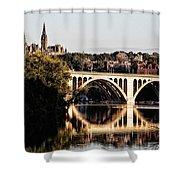 Key Bridge And Georgetown University Washington Dc Shower Curtain