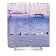 Key Bridge And Waterfowl Shower Curtain