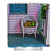 Key West Coconuts - Colorful House Porch Shower Curtain