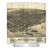 Key West Florida Map 1884 Shower Curtain