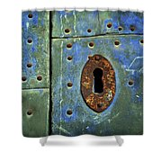 Keyhole On A Blue And Green Door Shower Curtain