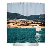 Kid Sailing On A Lake Shower Curtain