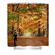 Kid With Backpack Walking In Fall Colors Shower Curtain