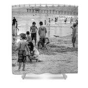 Kids At Beach Shower Curtain