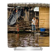 Kids At Play In Shanty Town Shower Curtain