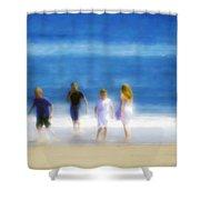 Kids At The Beach Shower Curtain