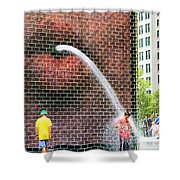 Kids Play In City Fountain Shower Curtain