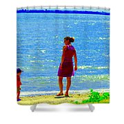 Kids Playing On The Seashore Mom And Little Boys Pointe Claire Montreal Waterscene Carole Spandau Shower Curtain