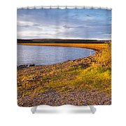 Kielder Dam In Late Evening Shower Curtain