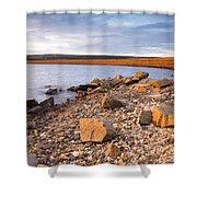 Kielder Dam In Low Sun Shower Curtain