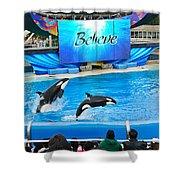 Killer Whales Perform In Shamu Stadium At Seaworld. Shower Curtain