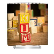 Kim - Alphabet Blocks Shower Curtain by Edward Fielding