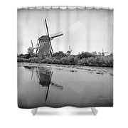 Kinderdijk In Black And White Shower Curtain