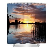 Kinderdijk Sunrise Shower Curtain