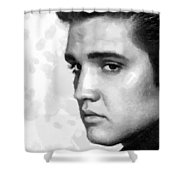 King Of Rock Elvis Presley Black And White Shower Curtain