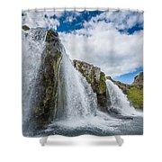 Kirkjufellsfoss Waterfalls, Church Shower Curtain