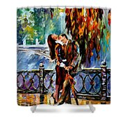 Kiss After The Rain - Palette Knife Oil Painting On Canvas By Leonid Afremov Shower Curtain