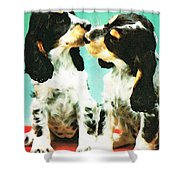 Kiss Me - Cocker Spaniel Art By Sharon Cummings Shower Curtain by Sharon Cummings
