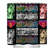 Kiss Me Hot Stuf Poster Shower Curtain