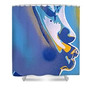 Kiss Series Blues And Yellows Shower Curtain