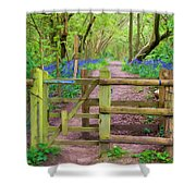 Kissing Gate Painting. Shower Curtain