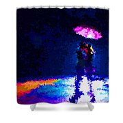 Kissing In The Rain Shower Curtain