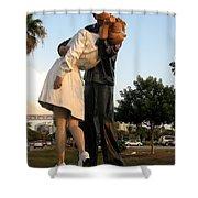 Kissing Sailor At Dusk - The Kiss Shower Curtain