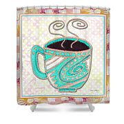 Kitchen Cuisine Hot Cuppa Aqua By Romi And Megan Shower Curtain