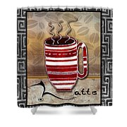 Kitchen Cuisine Hot Cuppa Coffee Cup Mug Latte Drink By Romi And Megan Shower Curtain