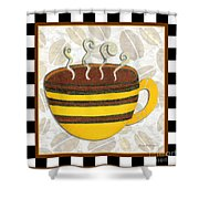 Kitchen Cuisine Hot Cuppa No14 By Romi And Megan Shower Curtain