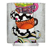 Kitchen Cuisine Stacked Hot Cuppa 1 By Romi And Megan Shower Curtain