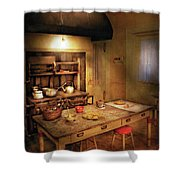 Kitchen - Granny's Stove Shower Curtain by Mike Savad