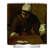 Kitchen Maid With The Supper At Emmaus, C.1618 Oil On Canvas Shower Curtain