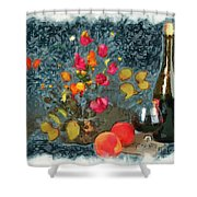 Kitchen - Peaches And Wine Painting  Shower Curtain by Liane Wright