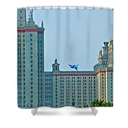 Kite Over Moscow University In Moscow-russia Shower Curtain
