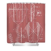 Kite Patent On Red Shower Curtain