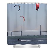 Kite Surfer And Skyway Bridge Shower Curtain