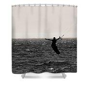 Kite Surfing Pose Shower Curtain