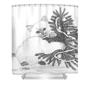 Kitten And Christmas Tree Shower Curtain