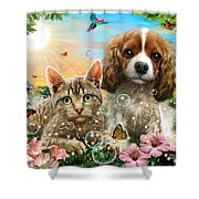 Kitten And Puppy Shower Curtain