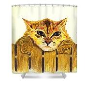 Kitten On Fence Shower Curtain
