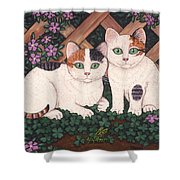 Kittens And Clover Shower Curtain