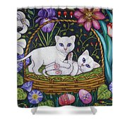 Kittens In A Basket Shower Curtain
