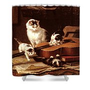Kittens Playing With A Guitar Shower Curtain