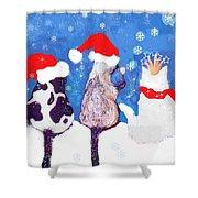 Kitty Christmas Shower Curtain