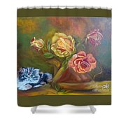 Kitty In The Roses Shower Curtain