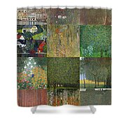 Klimt Landscapes Collage Shower Curtain