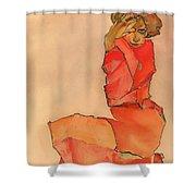 Kneeling Female In Orange-red Dress Shower Curtain